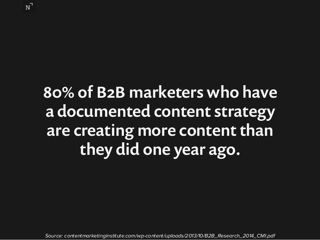 80% of B2B marketers who have  a documented content strategy  are creating more content than  they did one year ago.  Sour...