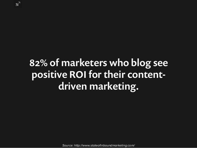 82% of marketers who blog see  positive ROI for their content-driven  marketing.  Source: http://www.stateofinboundmarketi...