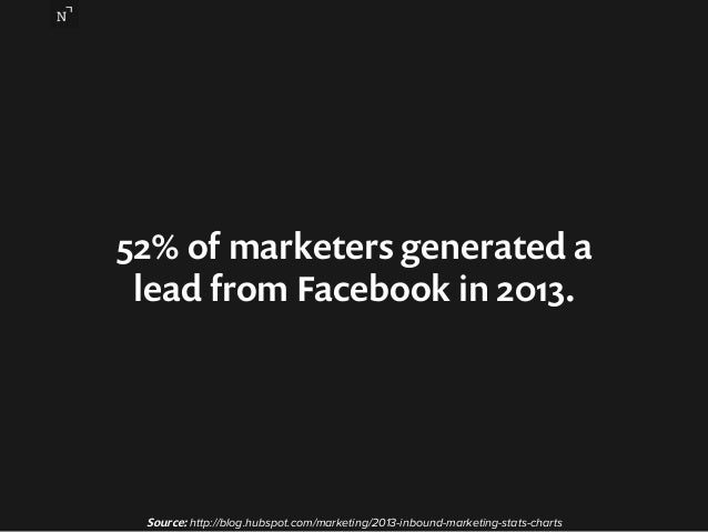 52% of marketers generated a  lead from Facebook in 2013.  Source: http://blog.hubspot.com/marketing/2013-inbound-marketin...