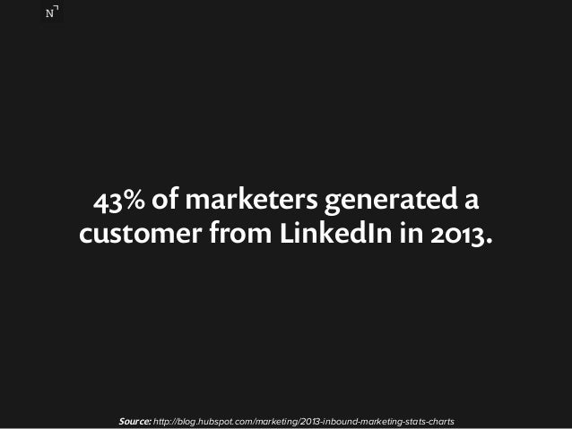 43% of marketers generated a  customer from LinkedIn in 2013.  Source: http://blog.hubspot.com/marketing/2013-inbound-mark...