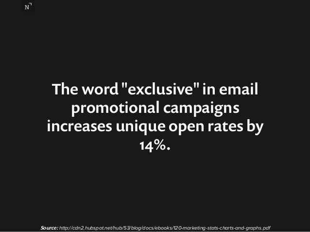 """The word """"exclusive"""" in email  promotional campaigns  increases unique open rates by  14%.  Source: http://cdn2.hubspot.ne..."""