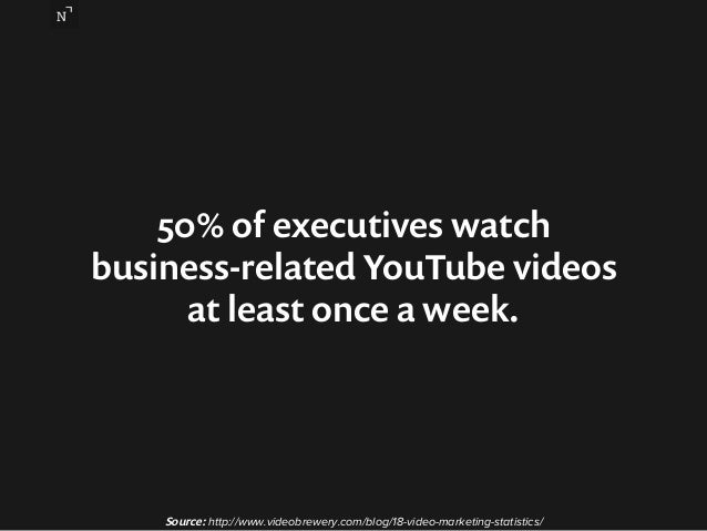 50% of executives watch  business-related YouTube videos  at least once a week.  Source: http://www.videobrewery.com/blog/...