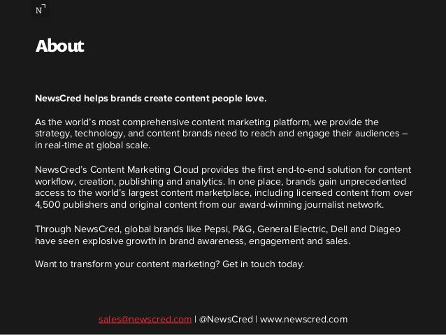 About  NewsCred helps brands create content people love.  As the world's most comprehensive content marketing platform, we...