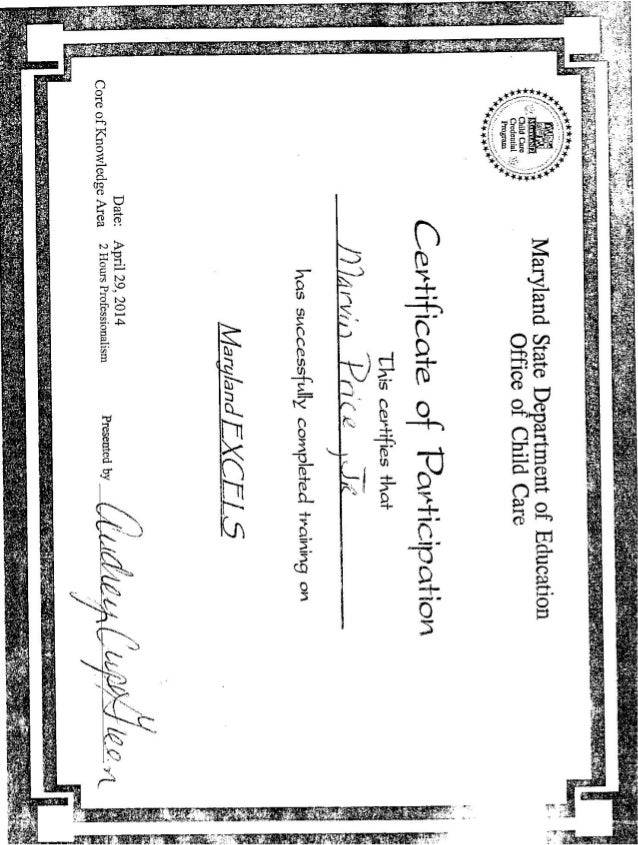 Maryland Excels Certificate