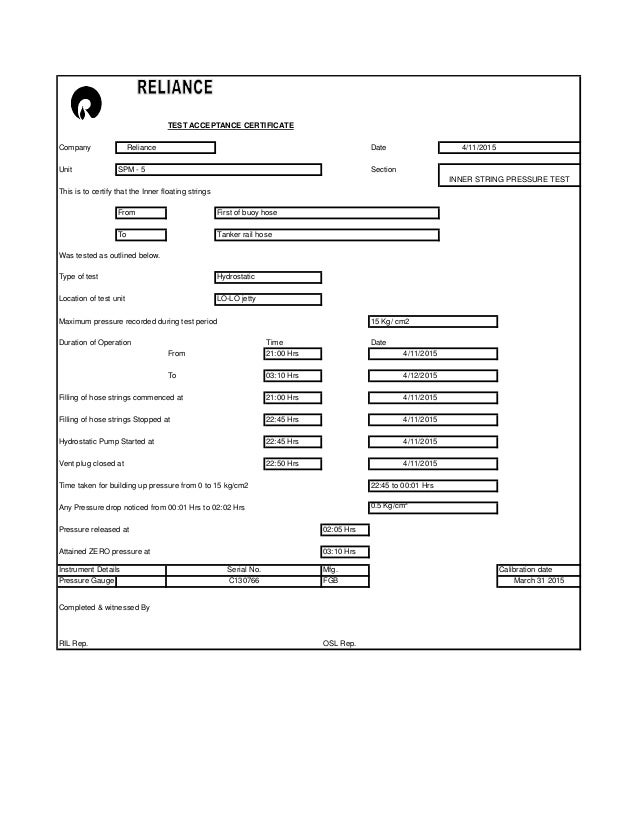 pressure test certificate template - hydrostatic pressure test report template water pressure