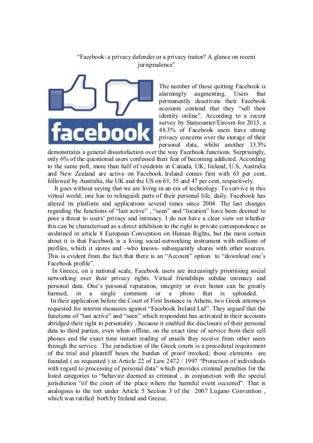 """""""Facebook: a privacy defender or a privacy traitor? A glance on recent jurisprudence"""" The number of those quitting Faceboo..."""