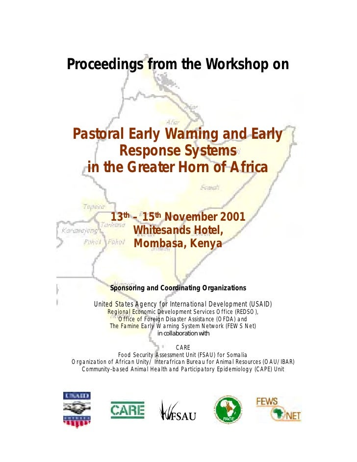 Proceedings from the Workshop onPastoral Early Warning and Early       Response Systems  in the Greater Horn of Africa    ...