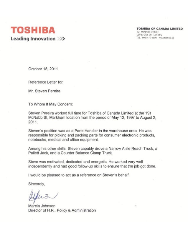 what do the letters reference letter toshiba marcia johnson 25508