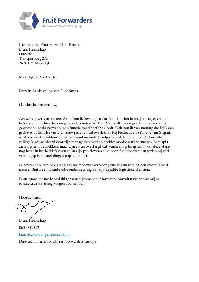 aanbevelingsbrief werkgever Aanbevelingsbrief / Letter of recommendation