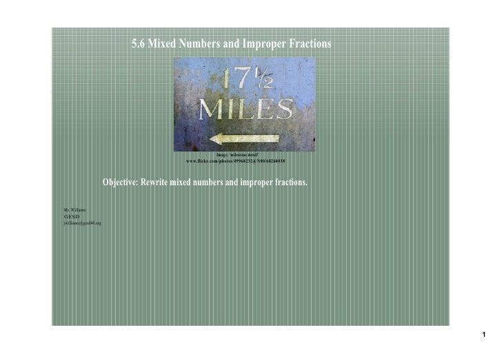 5.6MixedNumbersandImproperFractions                                                                Image:'milestone...