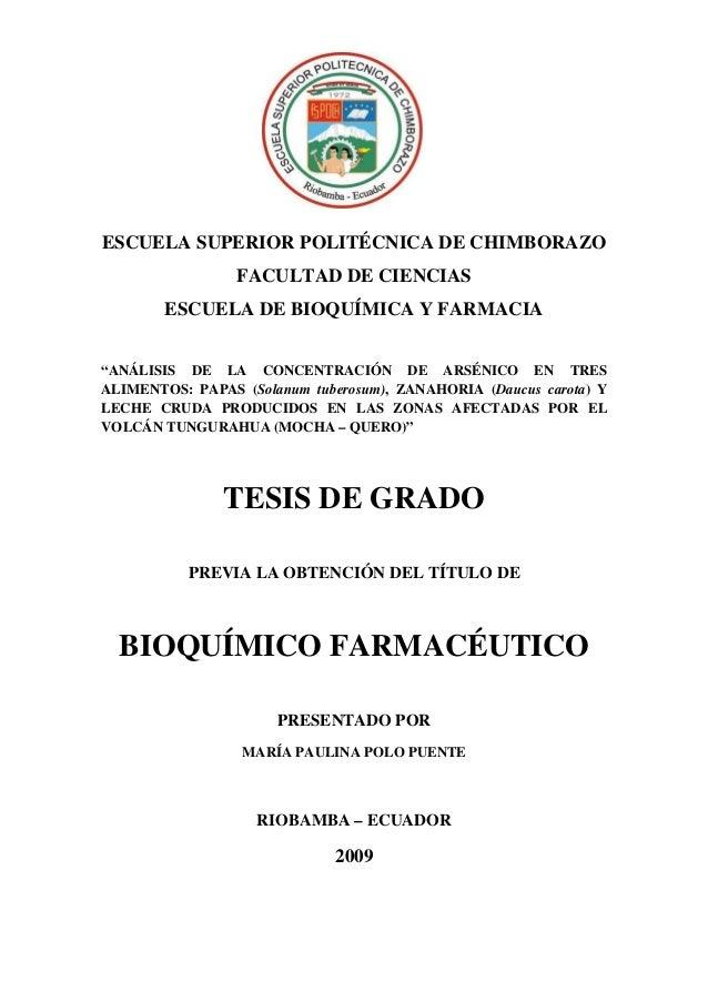"""ESCUELA SUPERIOR POLITÉCNICA DE CHIMBORAZO FACULTAD DE CIENCIAS ESCUELA DE BIOQUÍMICA Y FARMACIA """"ANÁLISIS DE LA CONCENTRA..."""