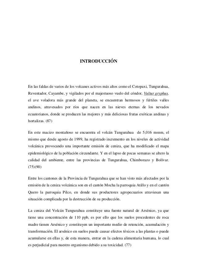 INTRODUCCIÓN  En las faldas de varios de los volcanes activos más altos como el Cotopaxi, Tungurahua, Reventador, Cayambe,...