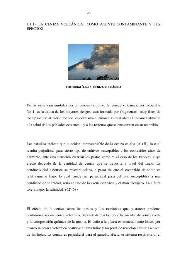 -2-  1.1.1.- LA CENIZA VOLCÁNICA COMO AGENTE CONTAMINANTE Y SUS EFECTOS  FOTOGRAFÏA No 1, CENIZA VOLCÁNICA  De las sustanc...