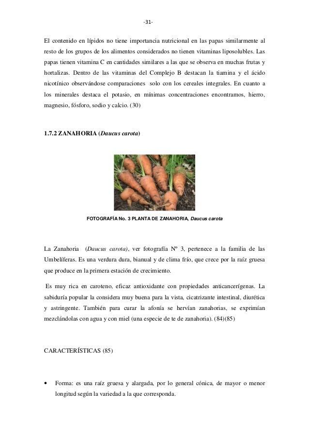 -31-  El contenido en lípidos no tiene importancia nutricional en las papas similarmente al resto de los grupos de los ali...