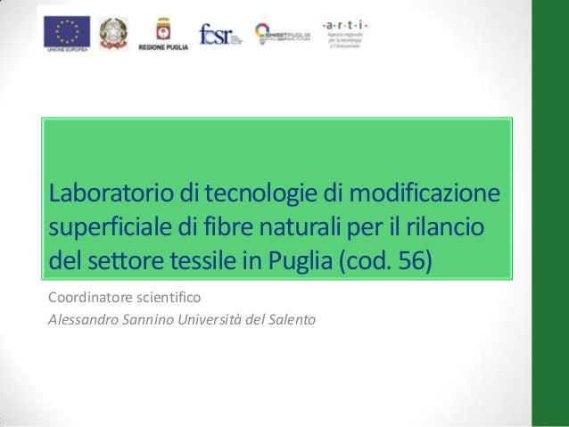 Laboratorio di tecnologie di modificazione superficiale di fibre naturali per il rilancio del settore tessile in Puglia (c...