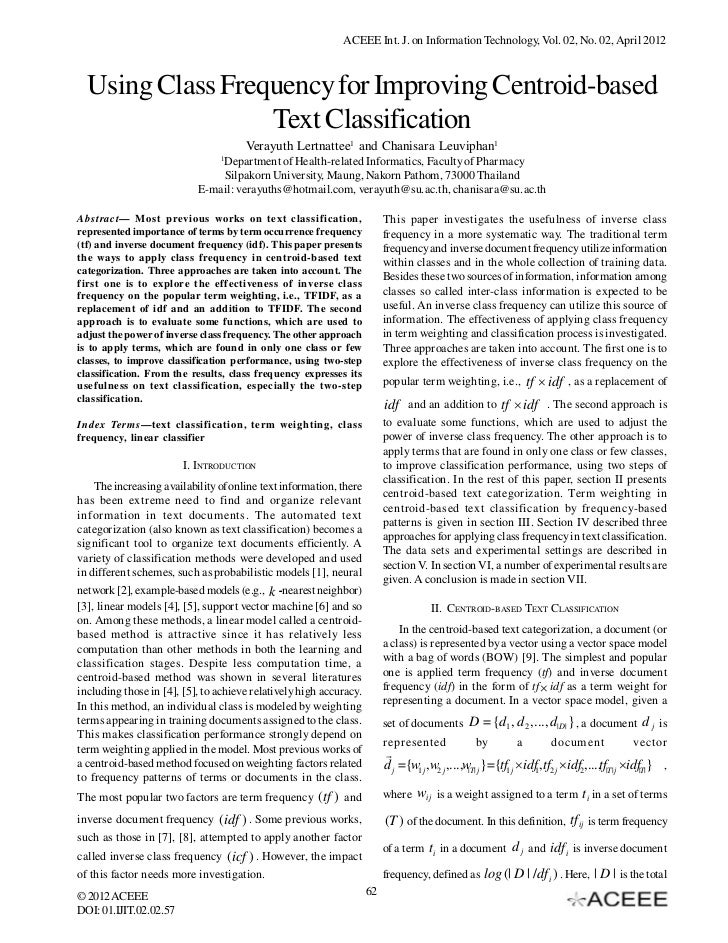 ACEEE Int. J. on Information Technology, Vol. 02, No. 02, April 2012  Using Class Frequency for Improving Centroid-based  ...