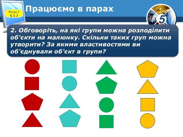 5 Розділ 2 § 2.3 2. Обговоріть, на які групи можна розподілити об'єкти на малюнку. Скільки таких груп можна утворити? За я...