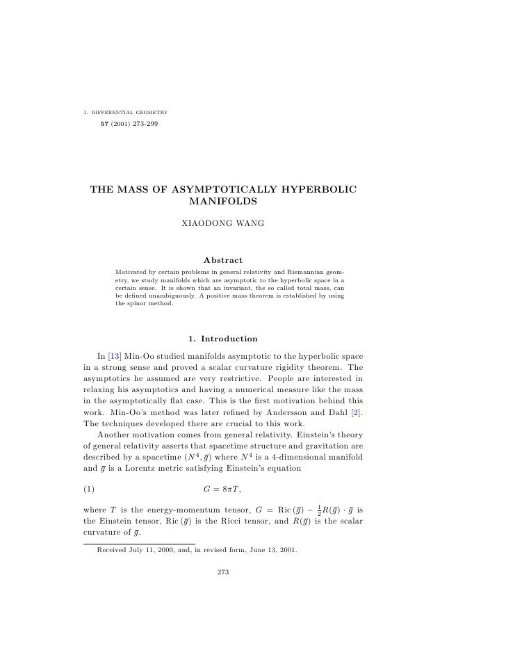 j. differential geometry        57 (2001) 273-299      THE MASS OF ASYMPTOTICALLY HYPERBOLIC                MANIFOLDS     ...