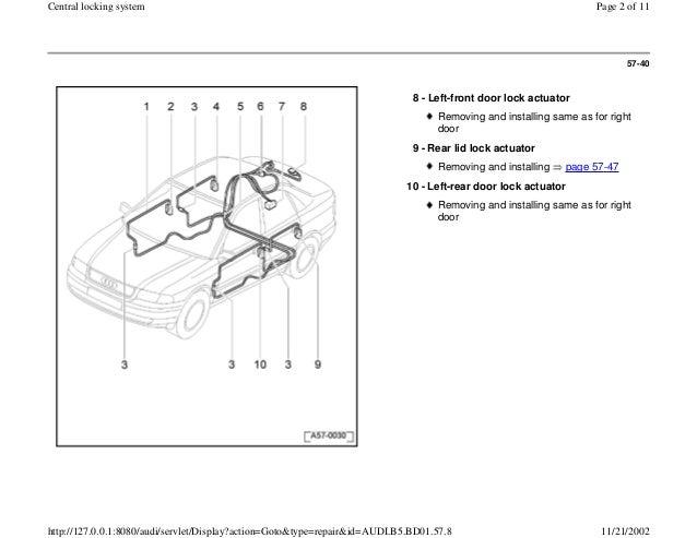 Audi A4 B5 1 8l 1996 Bady 57 39 Central Locking System