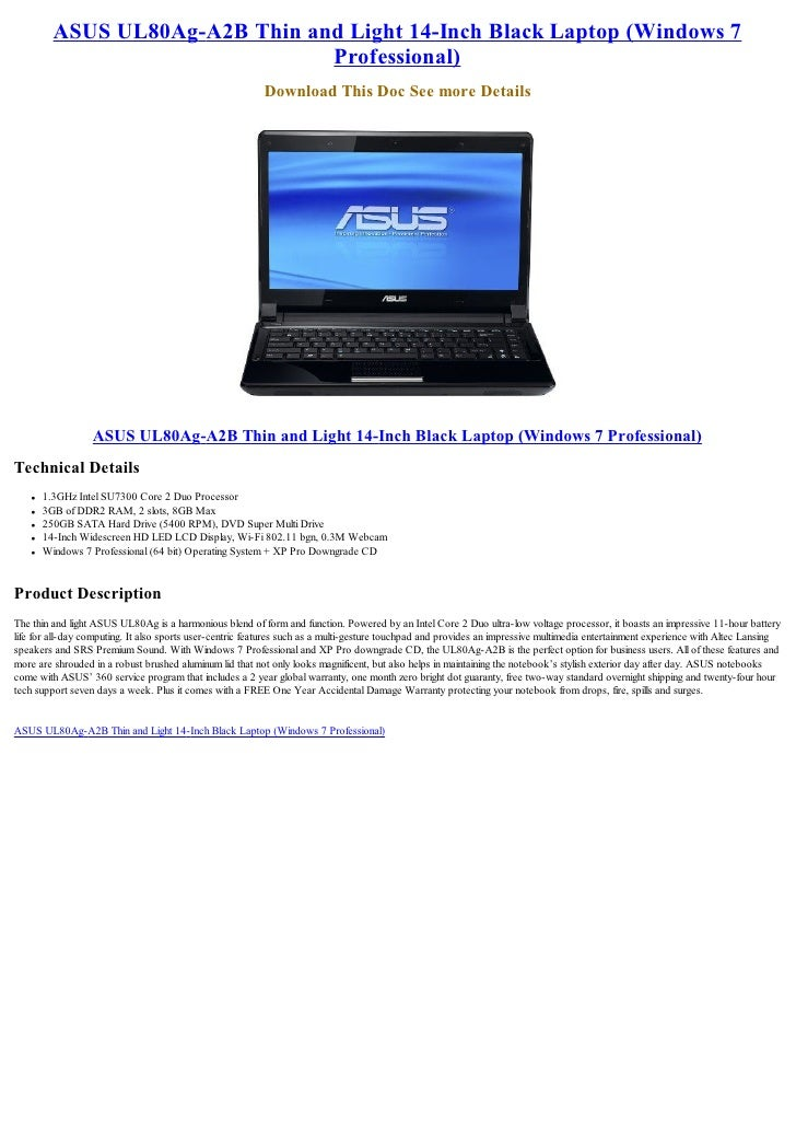 ASUS UL80Ag-A2B Thin and Light 14-Inch Black Laptop (Windows 7                                 Professional)              ...