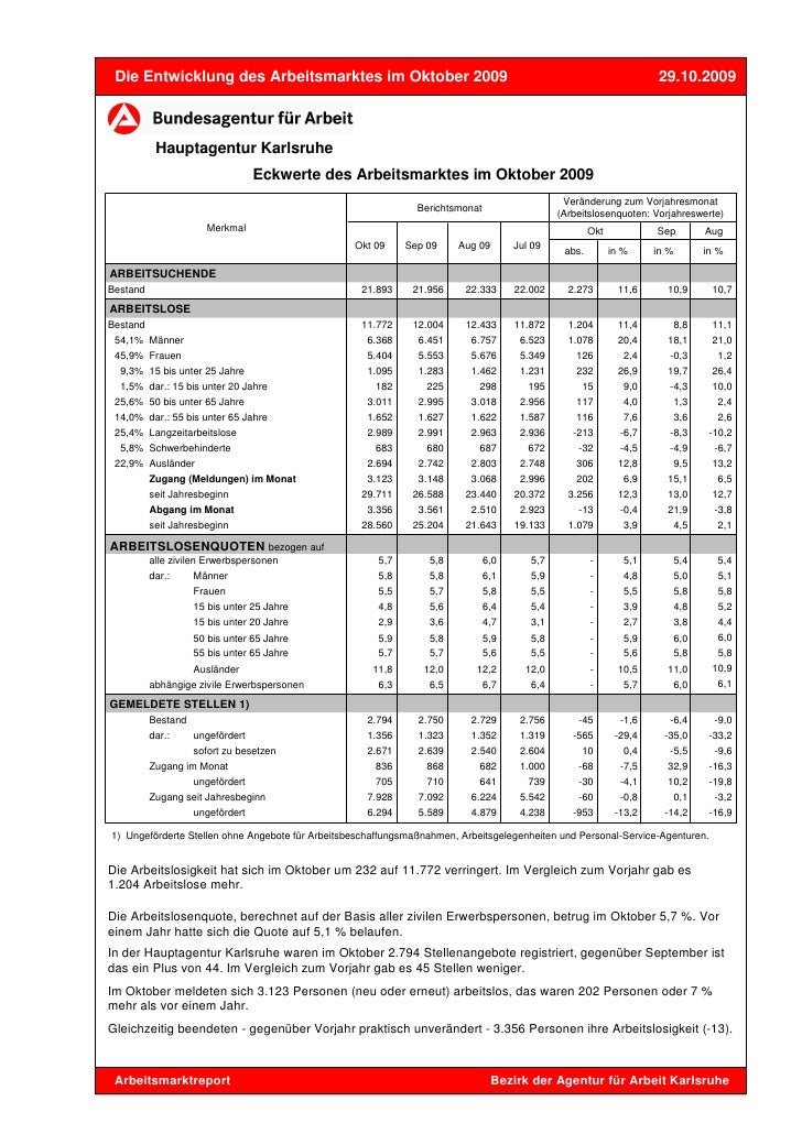 Die Entwicklung des Arbeitsmarktes im Oktober 2009                                                                   29.10...