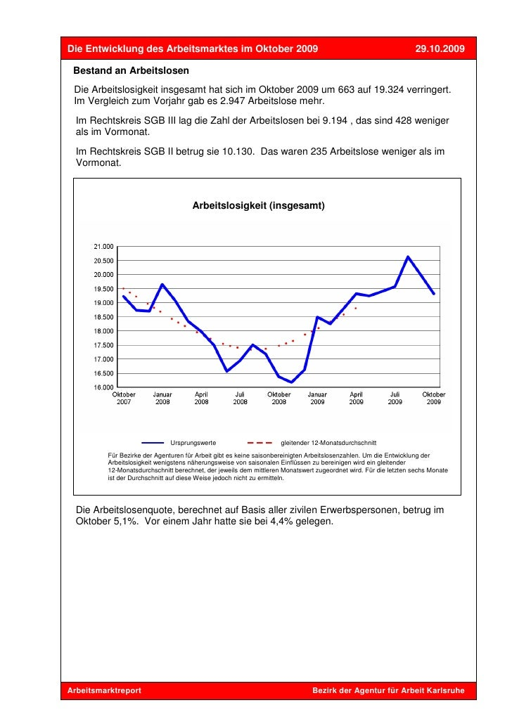 Die Entwicklung des Arbeitsmarktes im Oktober 2009                                                              29.10.2009...