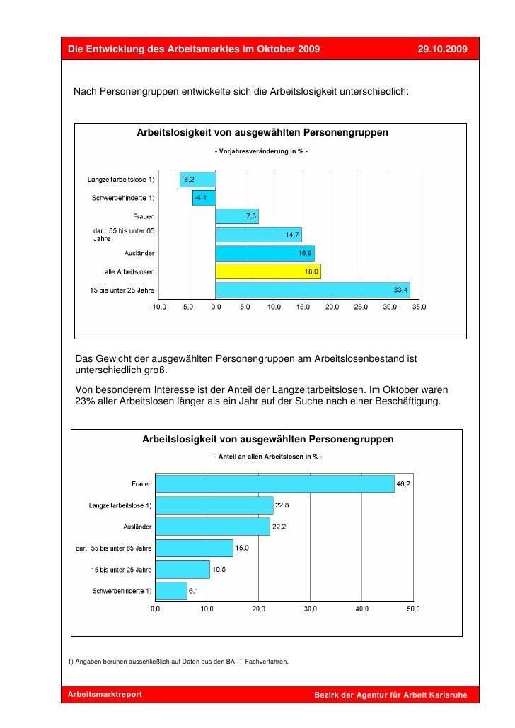 Die Entwicklung des Arbeitsmarktes im Oktober 2009                                                         29.10.2009 Nach...