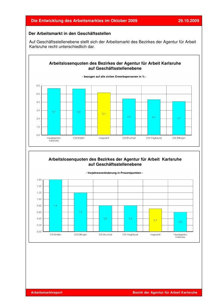 Die Entwicklung des Arbeitsmarktes im Oktober 2009                                          29.10.2009Der Arbeitsmarkt in ...