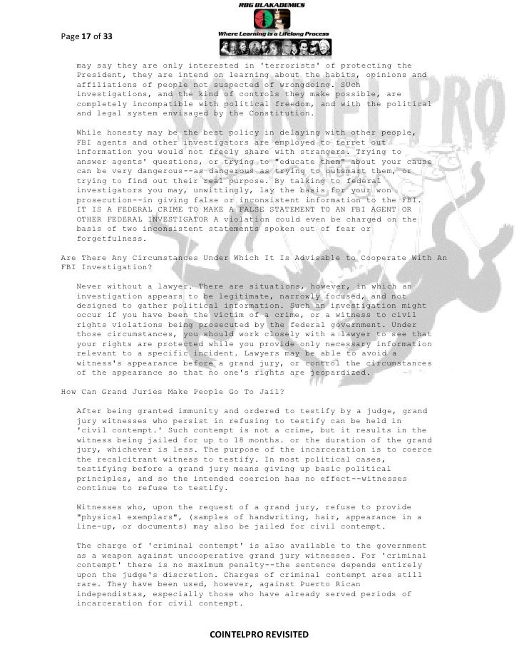 COINTELPRO REVISITED-FBI Domestic Intelligence Activities...