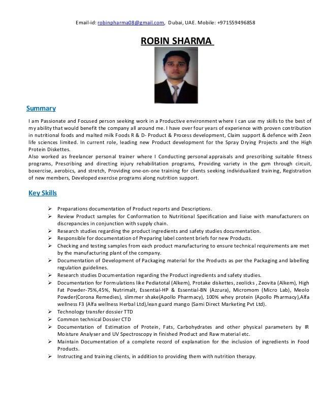Email-id: robinpharma08@gmail.com, Dubai, UAE. Mobile: +971559496858 ROBIN SHARMA Summary I am Passionate and Focused pers...