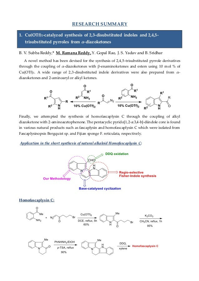 RESEARCH SUMMARY 1. Cu(OTf)2-catalyzed synthesis of 2,3-disubstituted indoles and 2,4,5- trisubstituted pyrroles from α-di...