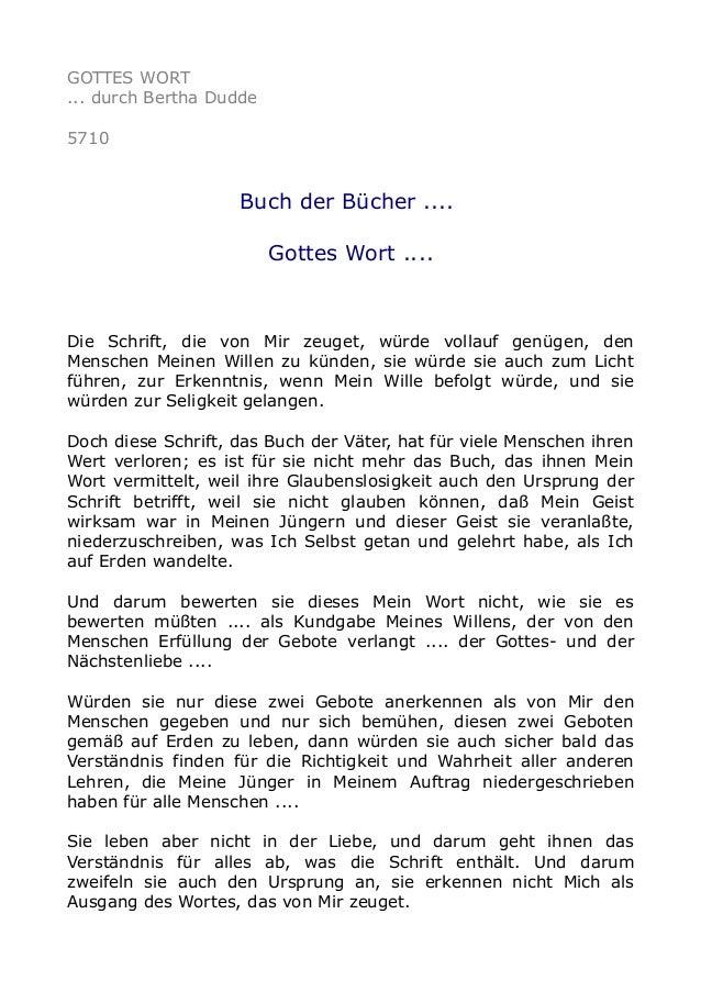 GOTTES WORT ... durch Bertha Dudde 5710 Buch der Bücher .... Gottes Wort .... Die Schrift, die von Mir zeuget, würde volla...
