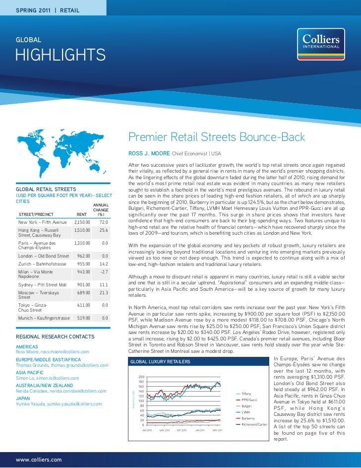 SPRING 2011 | RETAILgLOBALHIGHLIGHTS                                                  Premier Retail Streets Bounce-Back  ...