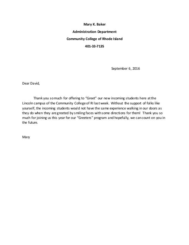 Greet letter to david greet letter to david mary k baker administration department community college of rhode island 401 33 7135 m4hsunfo