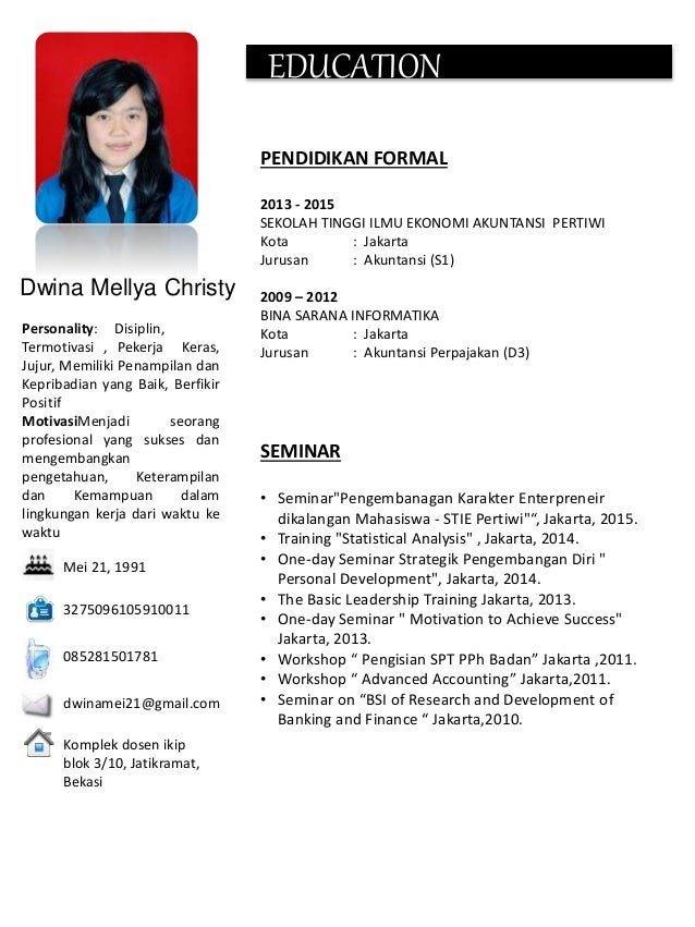 Contoh Application Letter Curriculum Vitae My Life My Story