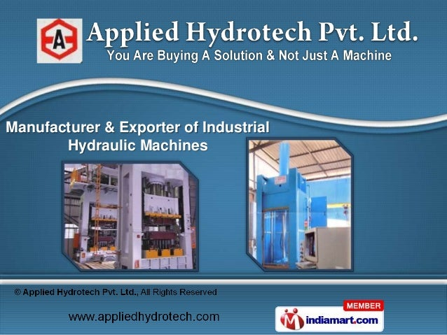 Manufacturer & Exporter of Industrial       Hydraulic Machines