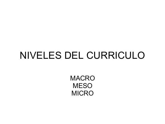NIVELES DEL CURRICULO MACRO MESO MICRO