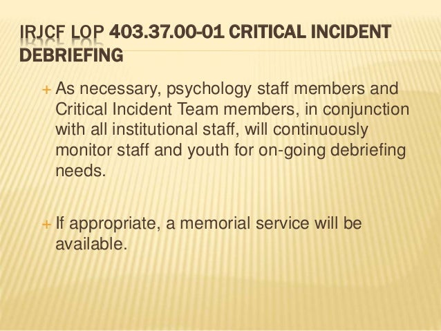 critical incidents in group counseling Great basin critical incident peer support group information  and mobilization process introduction a critical incident is not.