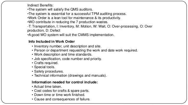 work order sample format