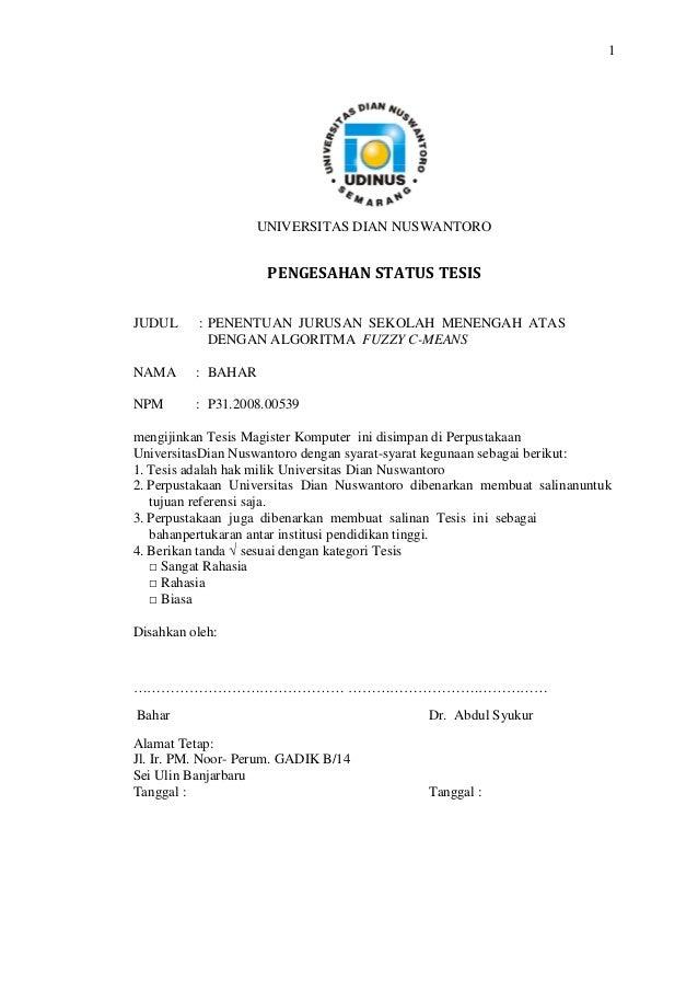 Kumpulan Judul Contoh Tesis Teknik Informatika
