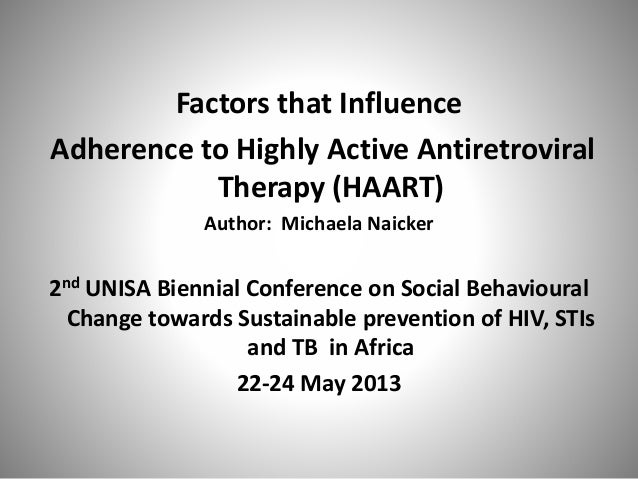 Factors that Influence Adherence to Highly Active Antiretroviral Therapy (HAART) Author: Michaela Naicker 2nd UNISA Bienni...