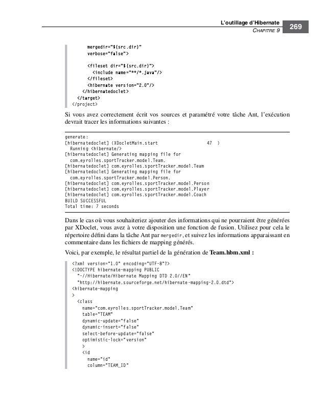 "L'outillage d'HibernateCHAPITRE 9269mergedir=""${src.dir}""verbose=""false""><fileset dir=""${src.dir}""><include name=""**/*.jav..."
