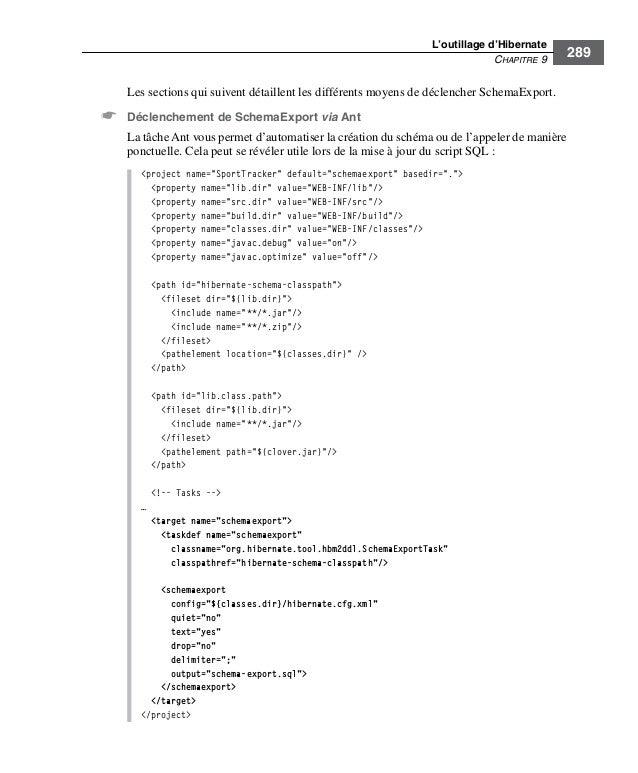L'outillage d'HibernateCHAPITRE 9289Les sections qui suivent détaillent les différents moyens de déclencher SchemaExport.☛...