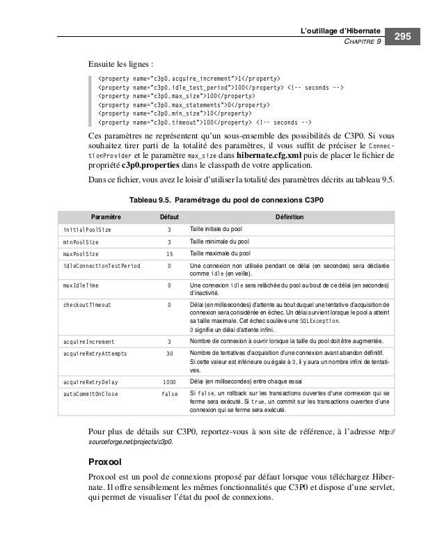 """L'outillage d'HibernateCHAPITRE 9295Ensuite les lignes :<property name=""""c3p0.acquire_increment"""">1</property><property name..."""