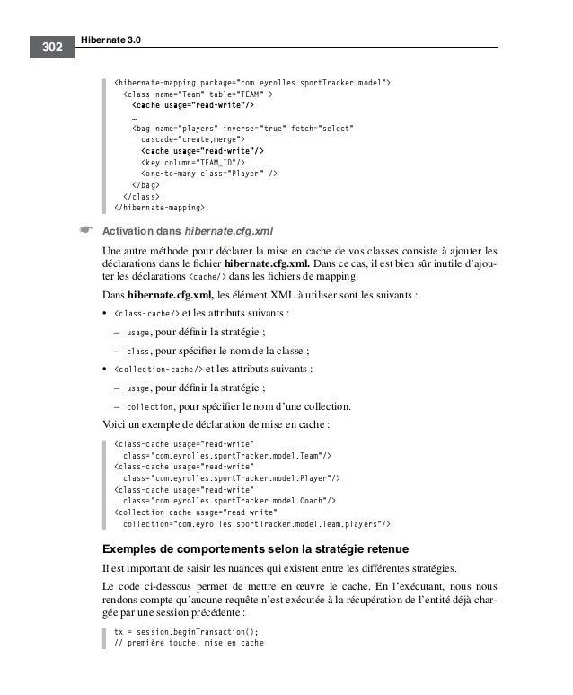 "Hibernate 3.0302<hibernate-mapping package=""com.eyrolles.sportTracker.model""><class name=""Team"" table=""TEAM"" ><cache usage..."