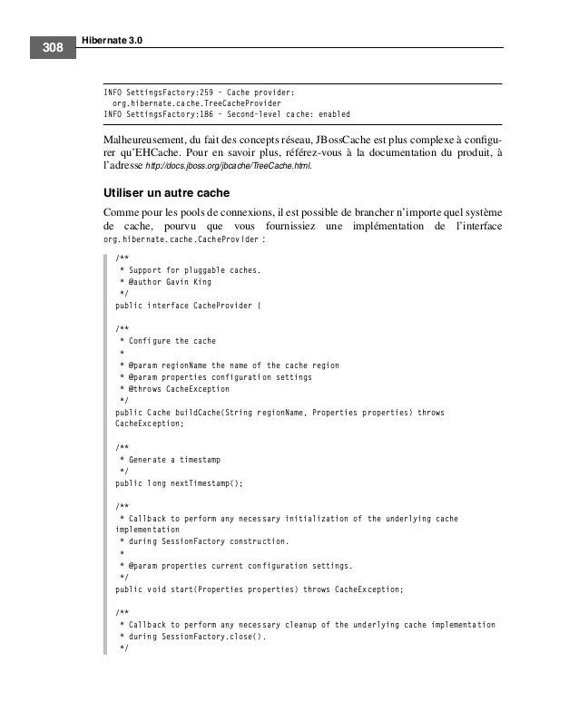 Hibernate 3.0308INFO SettingsFactory:259 - Cache provider:org.hibernate.cache.TreeCacheProviderINFO SettingsFactory:186 - ...