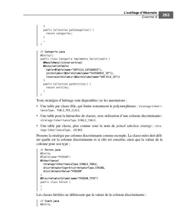 L'outillage d'HibernateCHAPITRE 9263)public Collection getCategories() {return categories;}…}// Categorie.java@Entity()pub...