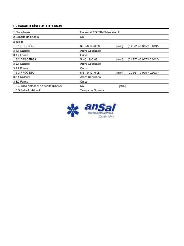 F - CARACTERÍSTICAS EXTERNAS  1 Placa base  2 Soporte de badeja  3 Tubos  3.1 SUCCIÓN 6.5 +0.12/-0.08  3.1.1 Material Acer...