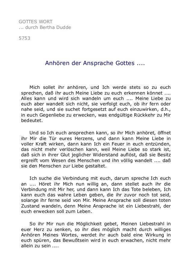 GOTTES WORT ... durch Bertha Dudde 5753 Anhören der Ansprache Gottes .... Mich sollet ihr anhören, und Ich werde stets so ...