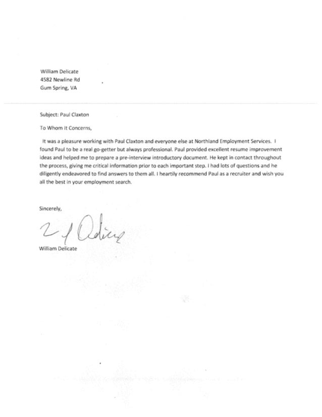 Recommendation Letter from William Delicate 2
